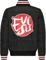 Evisu Down Jacket With Brushstroke Logo Print