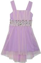 My Michelle Lilac & Stone Sequin-Waist Hi-Low Dress - Girls