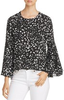 Vince Camuto Animal Print Bell-Sleeve Top
