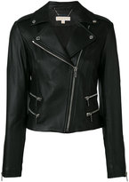 MICHAEL Michael Kors classic biker jacket - women - Lamb Skin/Polyester/Spandex/Elastane - L