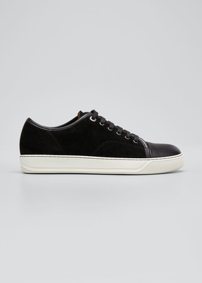 Lanvin Men's Suede and Leather Low-Top Sneakers