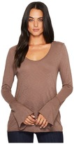 Michael Stars Cotton Supima Soft V-Neck with Bell Sleeve Women's Clothing