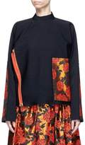 MS MIN Floral jacquard patch asymmetric wool twill jacket