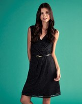 Yumi Lace Wrap Front Belted Dress