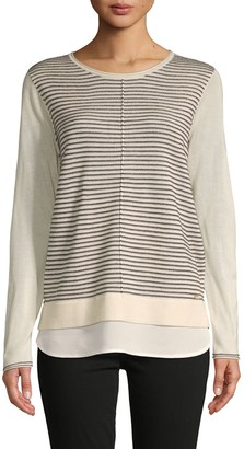 Calvin Klein Stripe Front Twofer Sweater