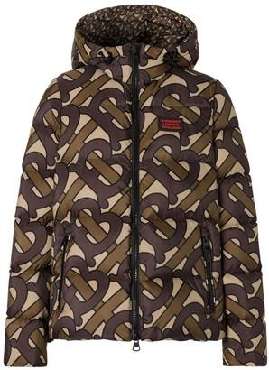 Burberry Monogram Print Hooded Puffer Jacket