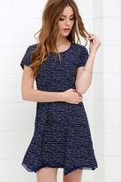 Olive + Oak Olive & Oak Train Times Navy Blue Print Swing Dress