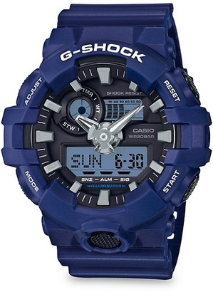 G-Shock Analog Blue Resin-Strap Watch
