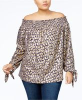 MICHAEL Michael Kors Size Metallic-Print Off-The-Shoulder Top