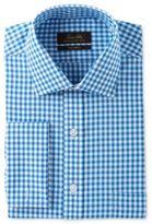 Tasso Elba Men's Classic/Regular Fit Non-Iron Aqua Herringbone Gingham French Cuff Dress Shirt, Created for Macy's
