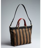 Fendi black, red and tobacco logo stripe canvas and leather convertible large tote bag