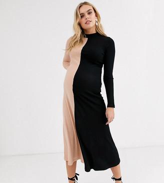 Asos DESIGN Maternity long sleeve half and half rib midi dress