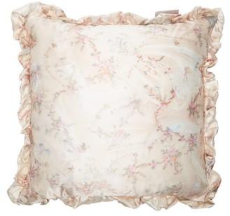Preen by Thornton Bregazzi Ruffled Floral-print Satin And Velvet Cushion - Light Pink