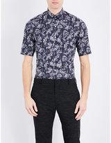 Lanvin Fish-print Slim-fit Cotton Shirt
