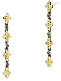 Freida Rothman Visionary Fusion Cubic Zirconia Clover Linear Drop Earrings in Black & Gold Tone Sterling Silver