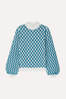 Stine Goya Carlo Two-tone Cable-knit Wool-blend Sweater - Sky blue