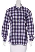 Issey Miyake Plaid Button-Up Top