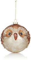 K & K Interiors Glitter-Embellished Mercury Glass Owl Ornament
