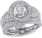 1.3ctw Raised Round Diamond Semi-Eternity-Style 14K White Gold 2-piece Bridal Set