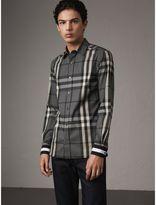Burberry Striped Cuff Check Cotton Blend Shirt , Size: XXL, Grey