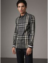 Burberry Striped Cuff Check Cotton Blend Shirt