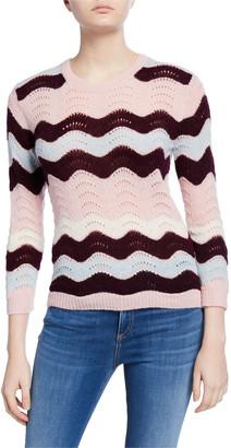 LoveShackFancy Ariella Zigzag Striped Crewneck Sweater