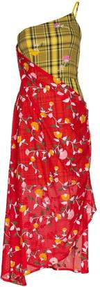 Shuting Qiu dual-pattern asymmetric midi dress