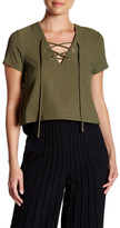 Catherine Malandrino Crepe Short Sleeve Lace Up Blouse