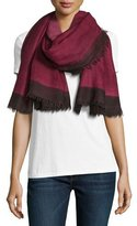 Salvatore Ferragamo Wool Colorblock Scarf, Pink/Black