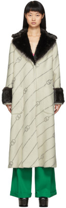 Gucci Off-White Faux-Fur Collar Crystal GG Coat