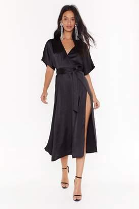 Nasty Gal Womens Call in Slick Satin Midi Dress - black - 6