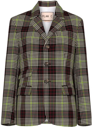 Plan C Checked Single-Breasted Blazer