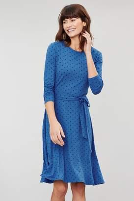 Joules Womens Blue Monica Long Sleeve Waisted Jersey Dress - Blue