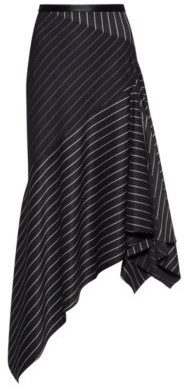 HUGO BOSS Regular Fit Striped Skirt With Asymmetric Hemline - Black