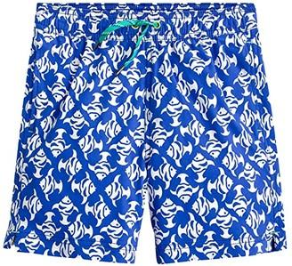 crewcuts by J.Crew Fish Mosaic Elastic Swim Trunks (Toddler/Little Kids/Big Kids) (Blue/Ivory) Boy's Swimwear