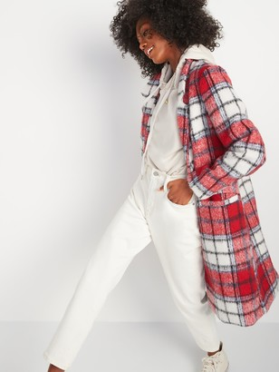 Old Navy Oversized Soft-Brushed Plaid Overcoat for Women