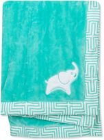 Jonathan Adler Crafted by Fisher Price Elephant Plush Flannel Blanket in Green