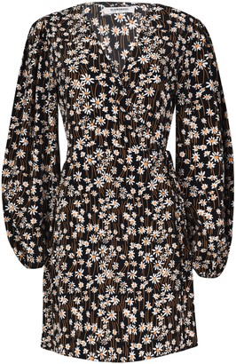 Glamorous Womens **Black Puff Sleeve Wrap Dress By Black