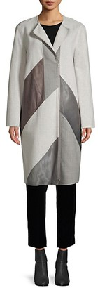 Lafayette 148 New York Wool-Blend, Calf Hair Leather Combo Coat