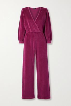 SUZIE KONDI Wrap-effect Cotton-blend Velour Jumpsuit - Magenta
