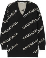 Balenciaga Intarsia Wool-blend Sweater - Black