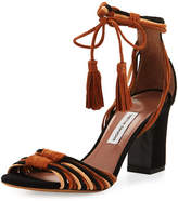 Tabitha Simmons Jamie Knotted Suede Block-Heel Sandal, Brown/Black