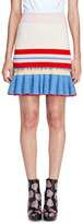 Alexander McQueen Striped Knit Flounce Skirt, Red/Pink/Yellow