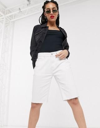 Noisy May longline denim shorts in white