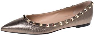 Valentino Metallic Bronze Leather Rockstud Pointed Toe Ballet Flats Size 37
