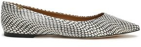 Tory Burch Snake-effect Leather Point-toe Flats