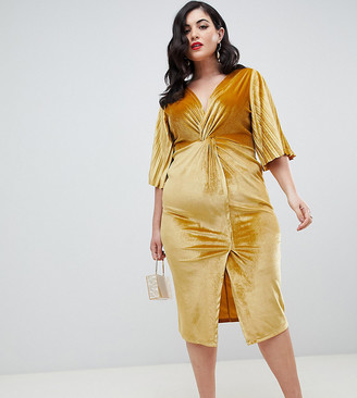 ASOS DESIGN Curve velvet twist kimono sleeve midi bodycon dress