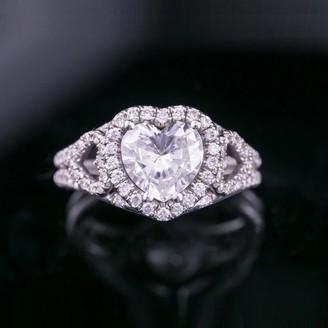 Auriya 18k Gold 1 7/8cttw Heart Shape Halo Diamond Engagement Ring Certified
