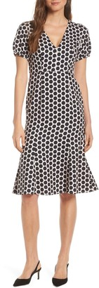 1901 Cutout Back Polka Dot Dress