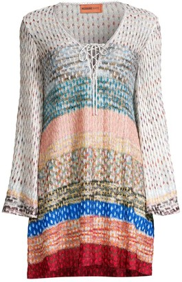 Missoni Mare Chevron Long-Sleeve Short Cover-Up